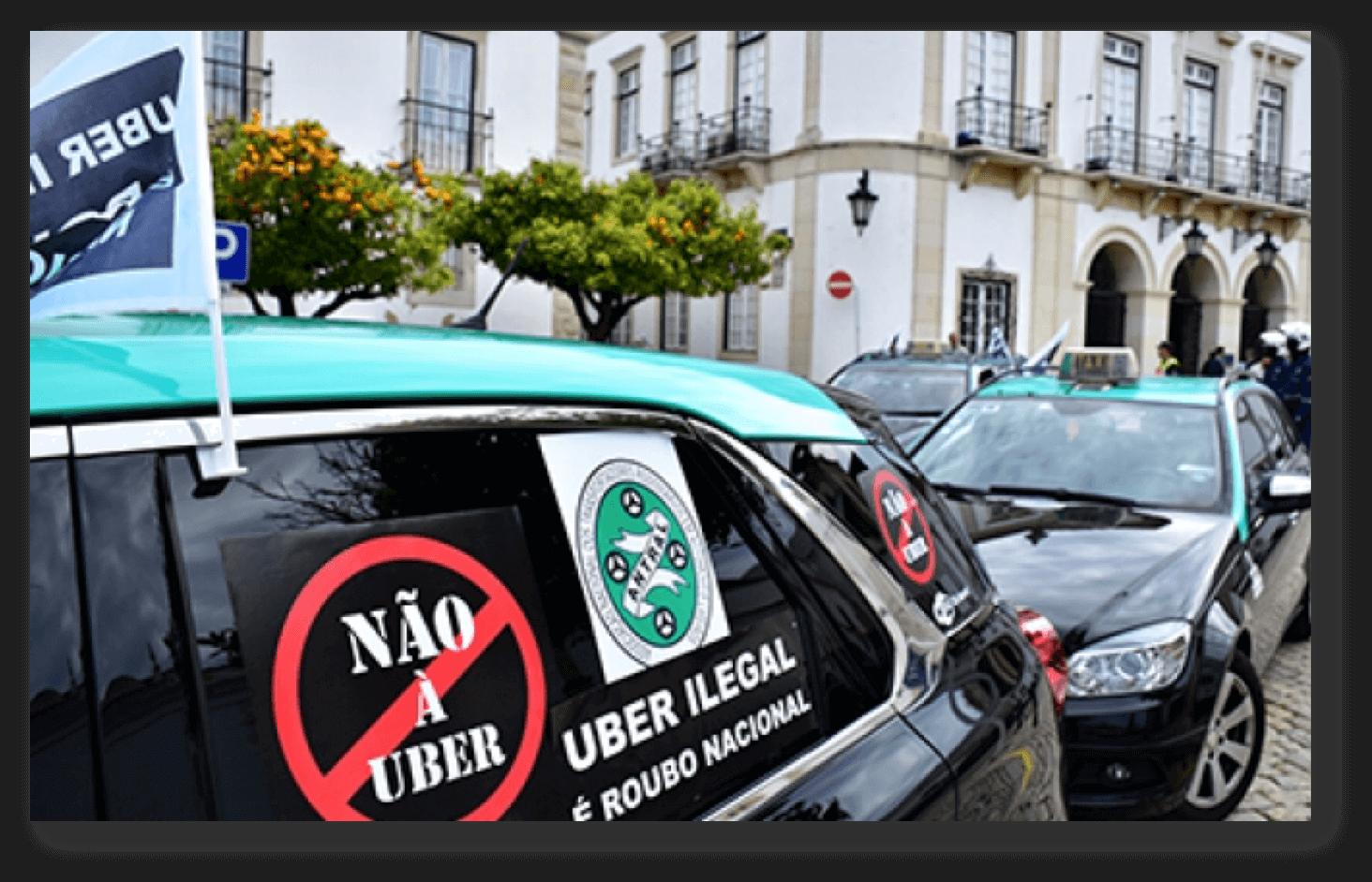 Taxistas portugueses protestam contra a Uber